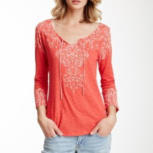 LUCKY BRAND Poinsettia Red NEW Burnout Tee 3/4 XL